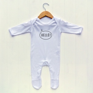 Newborn Baby Sleepsuit, White, Bunny face print