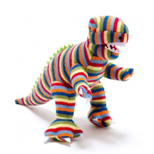 Rex the Dinosaur Rattle - Multi Stripe