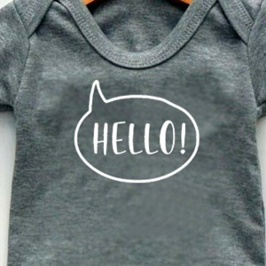 Newborn Baby Bodysuit, Grey, Hello Print