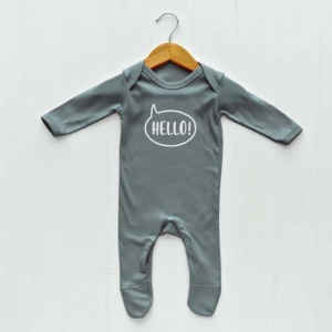 Newborn Baby Sleepsuit, Grey, Hello print