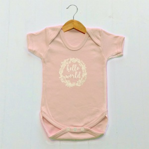 Newborn Baby Girls Bodysuit, Blush Pink, Hello World Print