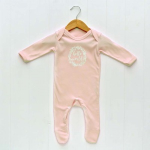 Newborn Baby Girls Sleepsuit, Blush Pink, 'Hello World' Print