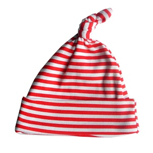Baby Bunting Red & White Stripe print knotted hat